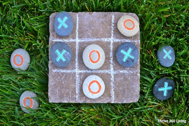 how to make painted rock tic-tac-toe with a paver stone