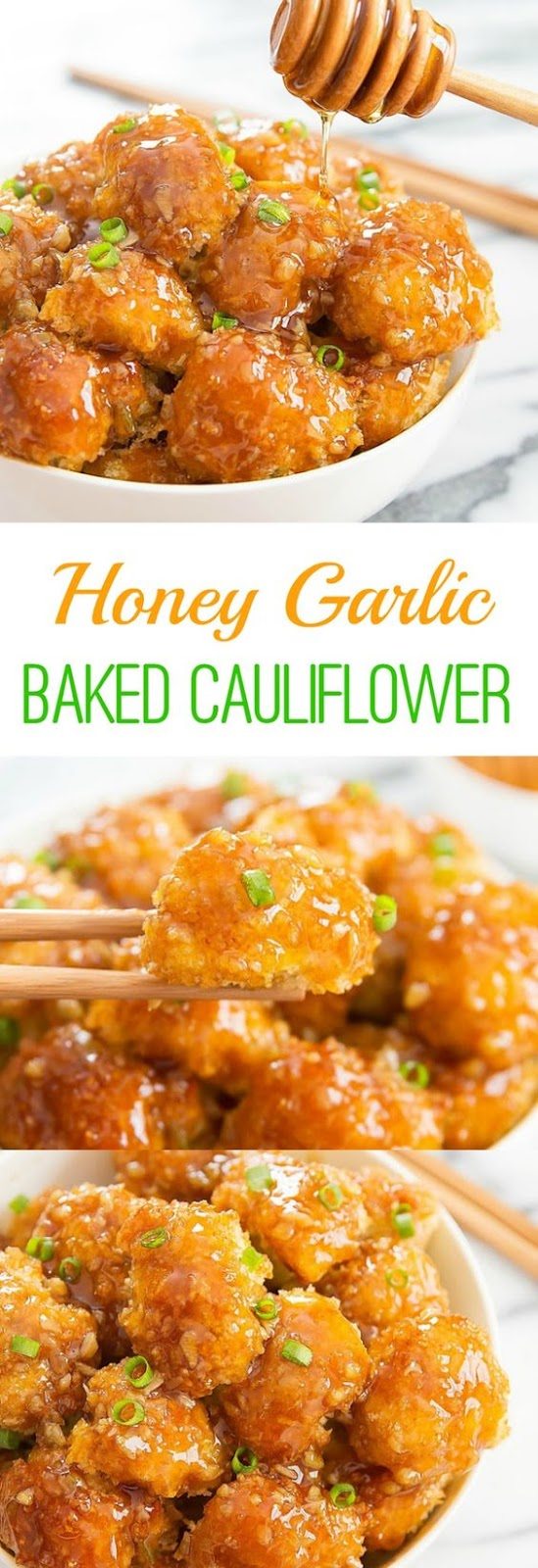 Crunchy baked breaded cauliflower pieces are coated with honey garlic sauce. It's an easy and delicious weeknight meal.