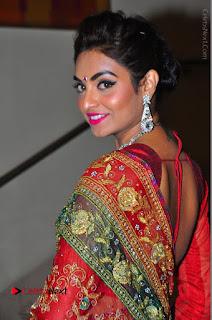Model Sharon Fernandes Stills in Red Saree at Trendz Exhibition Launch  0027.JPG