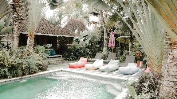 area kolam renang di hati padi cottage