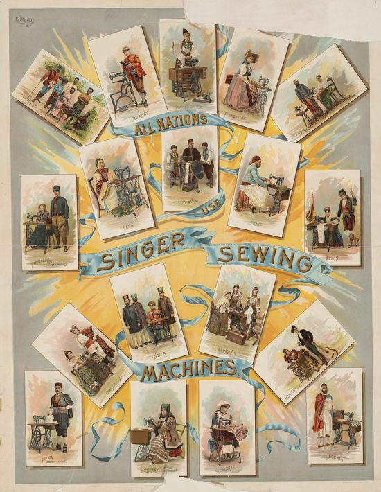 Singer sewing machines ad poster 1892