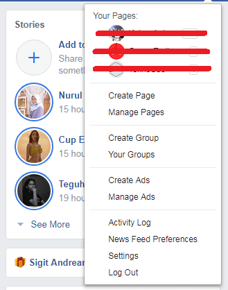 buka menu setting di facebook