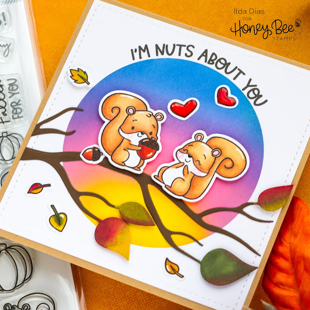 I'm Nuts About You Fall Scene Card | Honey Bee Stamps