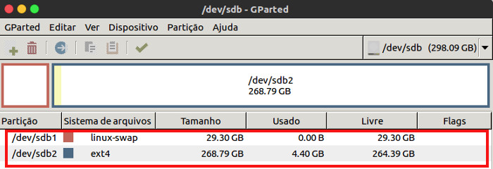 particoes criadas com gparted no linux ubuntu