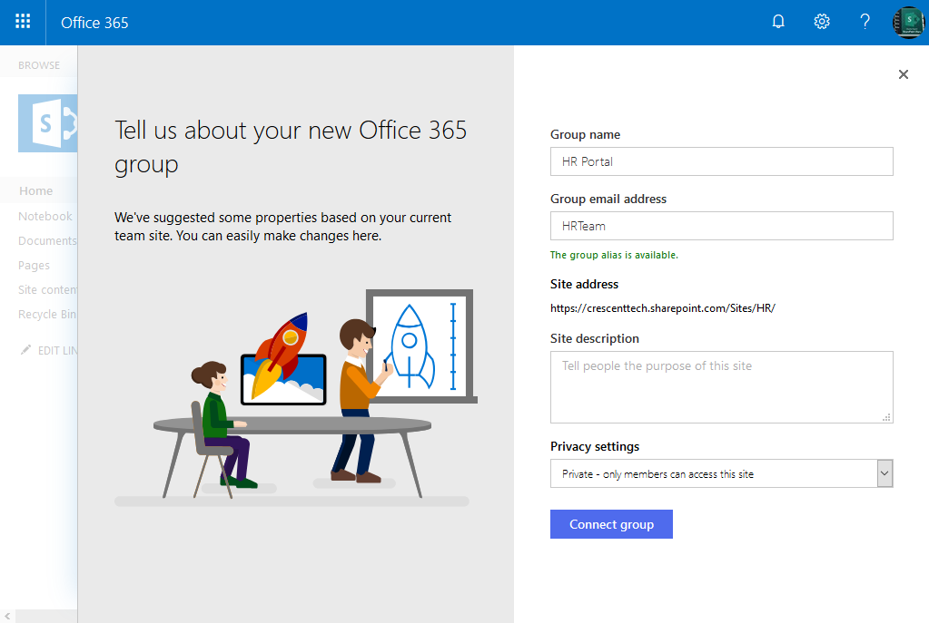 connect sharepoint classic experience site to office 365 group