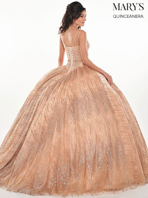 Rose Gold Color Ball Gown Mary's Quinceanera Design Dress back side