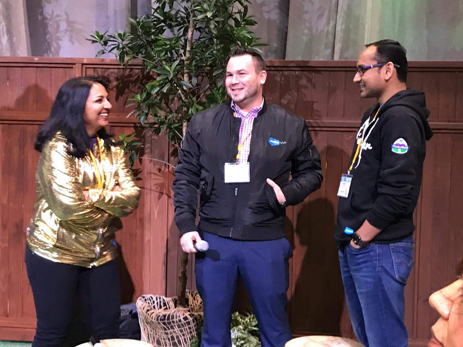 Salesforce MVP Tigh Loughhead, Bhavana Singh and Guha Arumugam at the NYC Salesforce World Tour Ohana