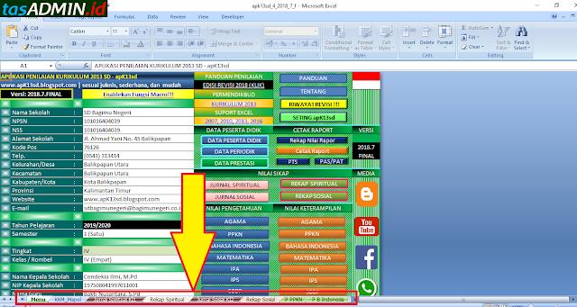 menu pada aplikasi raport apk13sd