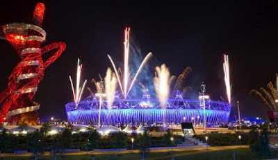 Fireworks over London Olympic Stadium