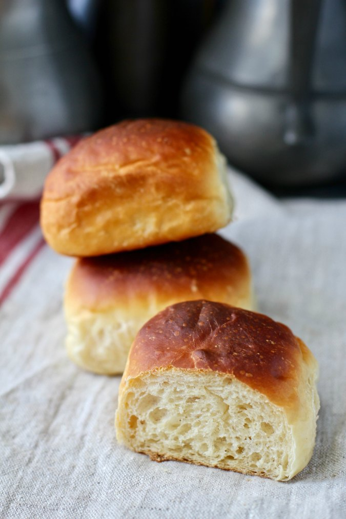 Par-baked dinner rolls fully baked with a soft crumb