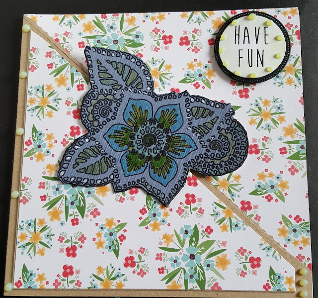 "Have Fun - floral theme 7"" Kraft card"