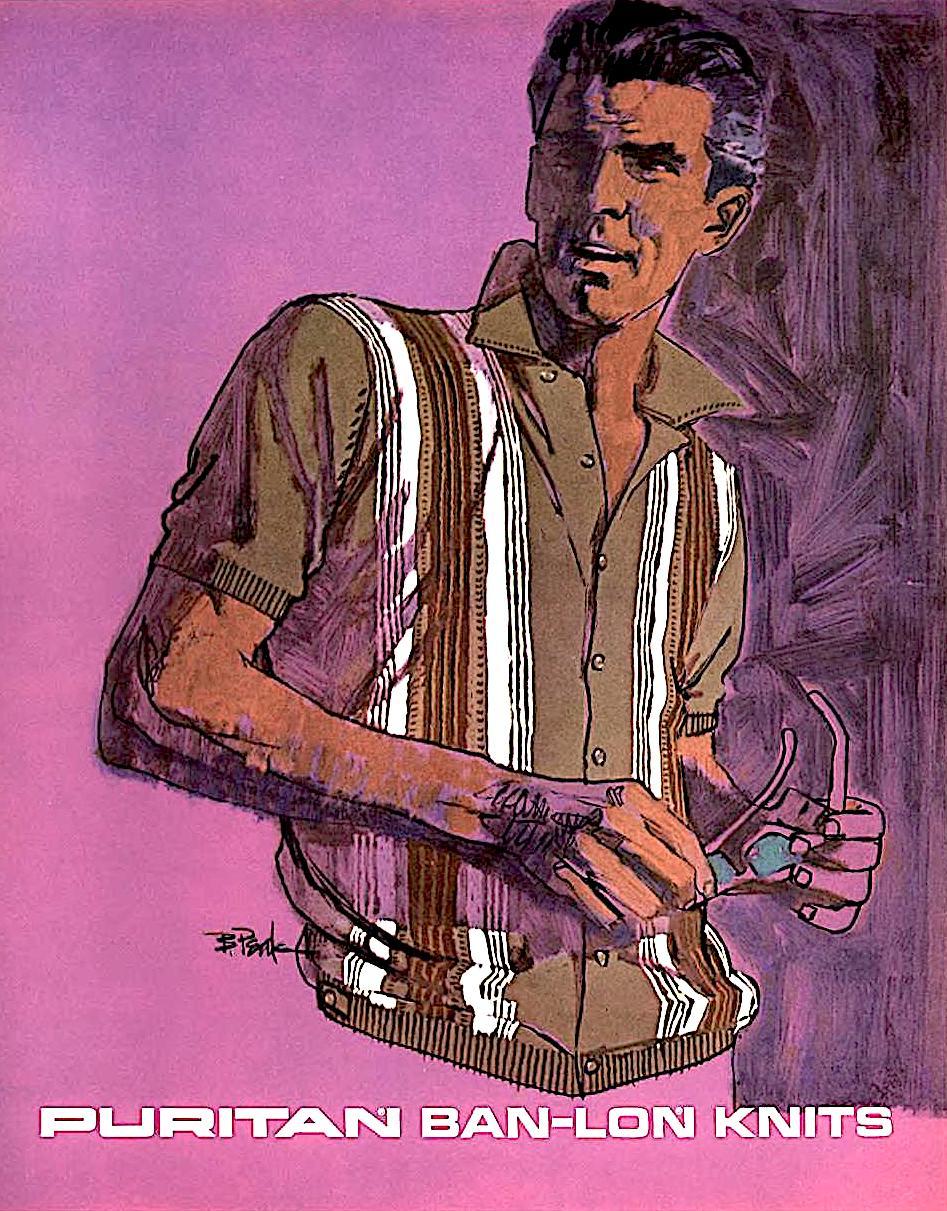 a Bob Peak 1960s illustration, Puritan Ban-Lon Knits