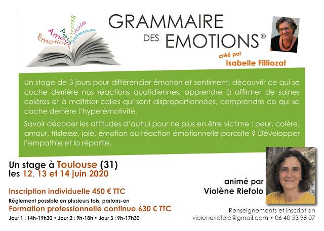 La Grammaire des Emotions à Toulouse les 12, 13 et 14 juin 2020
