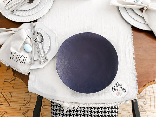 navy blue faux suede painted charger