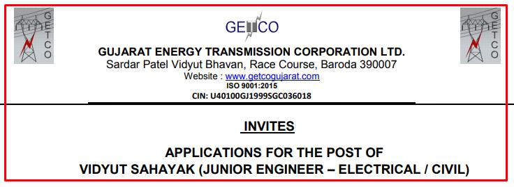 GETCO 360 Vidyut Sahayak (Junior Engineer – Electrical / Civil) Recruitment 2021