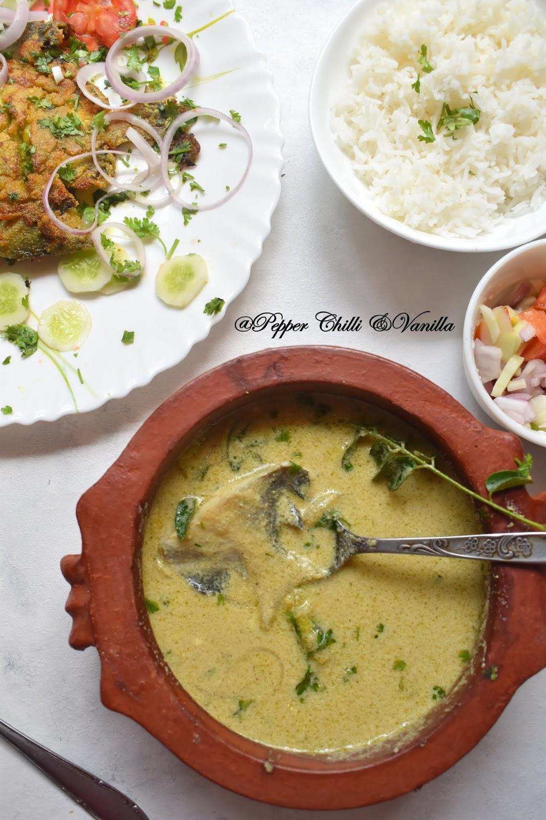 pomfret in coconut milk/pomfret coconut curry