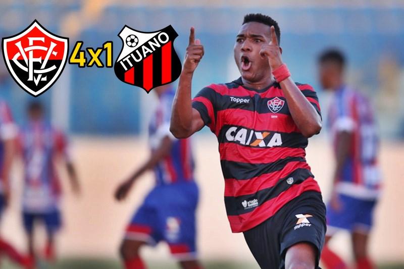Vitória goleia o Ituano com show de Eron e avança na Copa São Paulo: assista os gols. 1