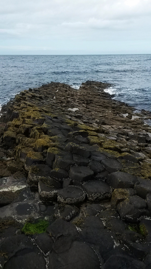 Rocks going out to sea at Giant's Causeway