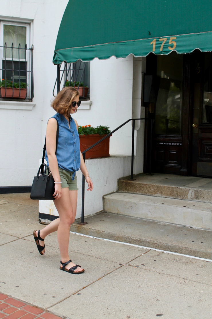chambray tie shirt and olive shorts