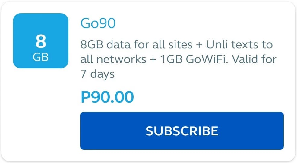 Globe Go90 with 8GB Data All Sites + GoWiFi + Unlimited Texts for 7 Days for Only 90 Pesos