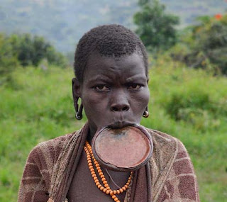Mursi woman of Ethiopia are known for their traditional lip plates.