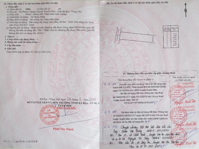 ảnh thực tế giấy tờ nhà đất hồ  tràm đang được bán