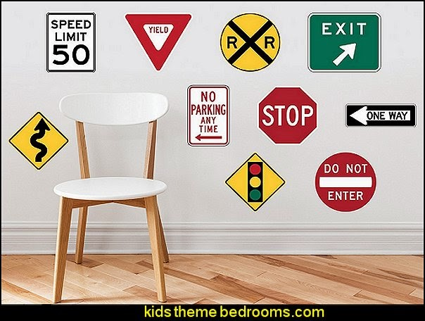 Street Signs Fabric Wall Decals with Stop Sign, Yield, One Way, Exit, Railroad