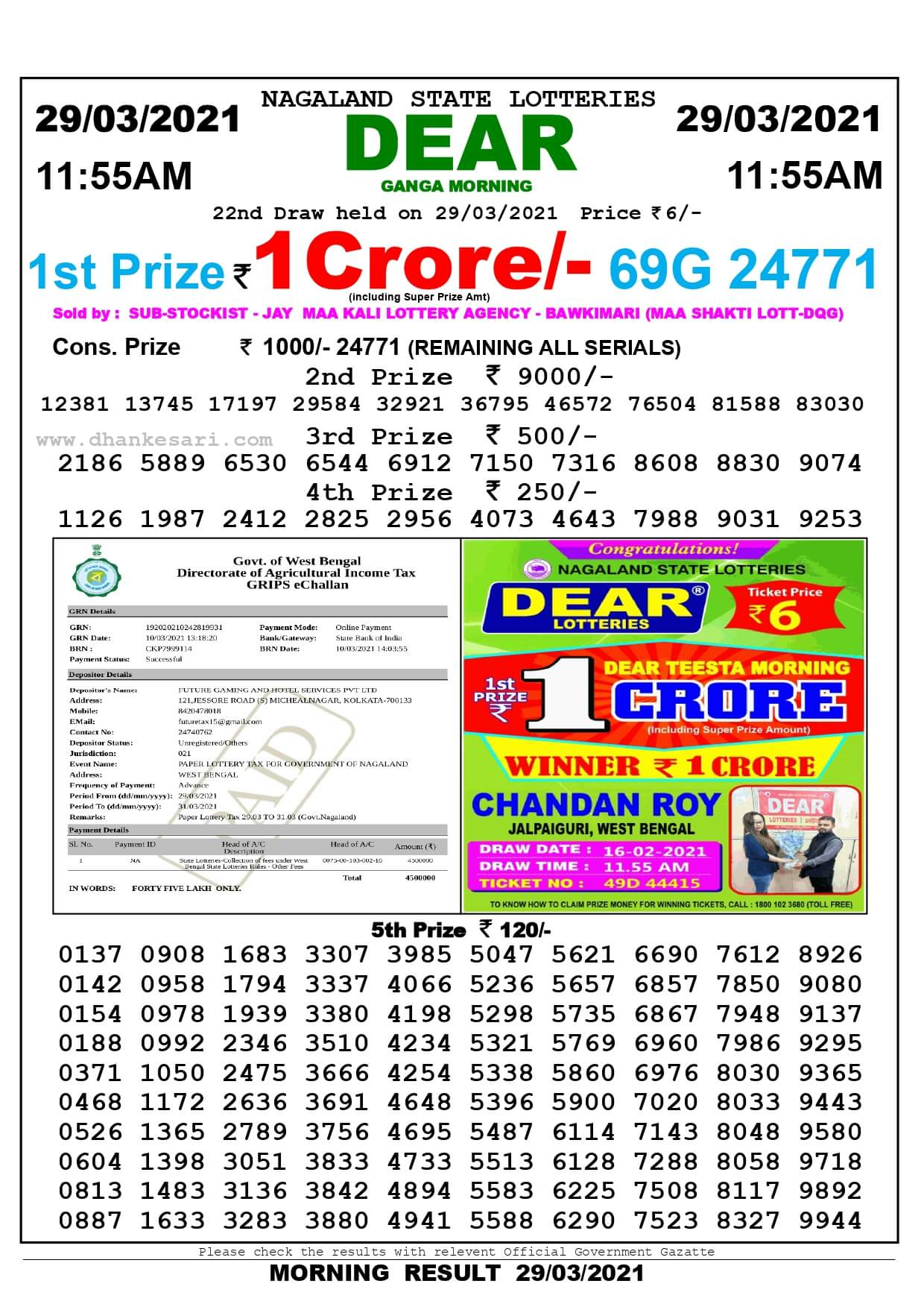 Sikkim State Lottery Result Today 29.3.2021 Live Result