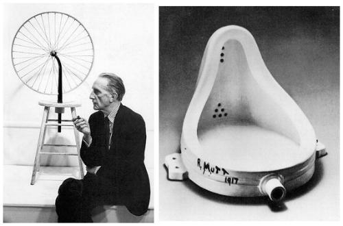 A Fonte - Marcel Duchamp, 1917 (A Fonte é um urinol de porcelana branco, considerado uma das obras mais representativas do dadaísmo na França, criada em 1917, sendo uma das mais notórias obras do artista Marcel Duchamp.)