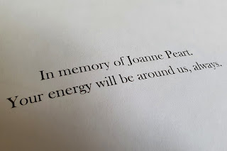 Book dedication to Joanne Peart - her energy will always be with her family