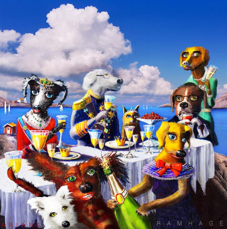 Hundar firar midsommar i skärgården vid dukat bord