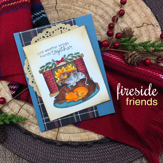 Dog and Cat by Fireplace Card by Jennifer Jackson | Fireside Friends Stamp Set | Newton's Nook Designs #newtonsnook