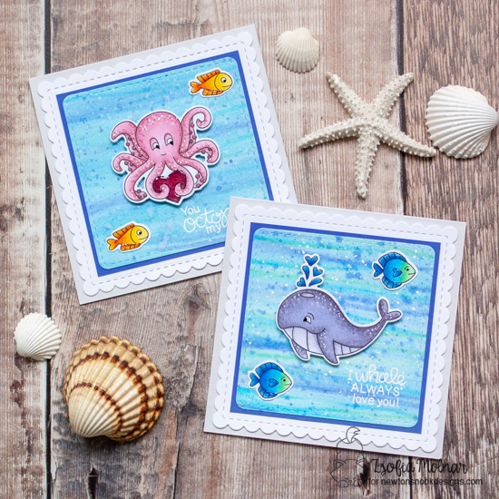 Duo of Sea themed Valentine Cards by Zsofia Molnar | Tides of Love Stamp Set and Frames Squared Die Set by Newton's Nook Designs #newtonsnook #handmade