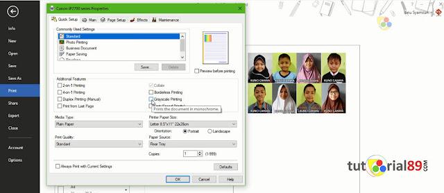Cara mudah print Photo berwarna menjadi hitam putih di Microsoft word