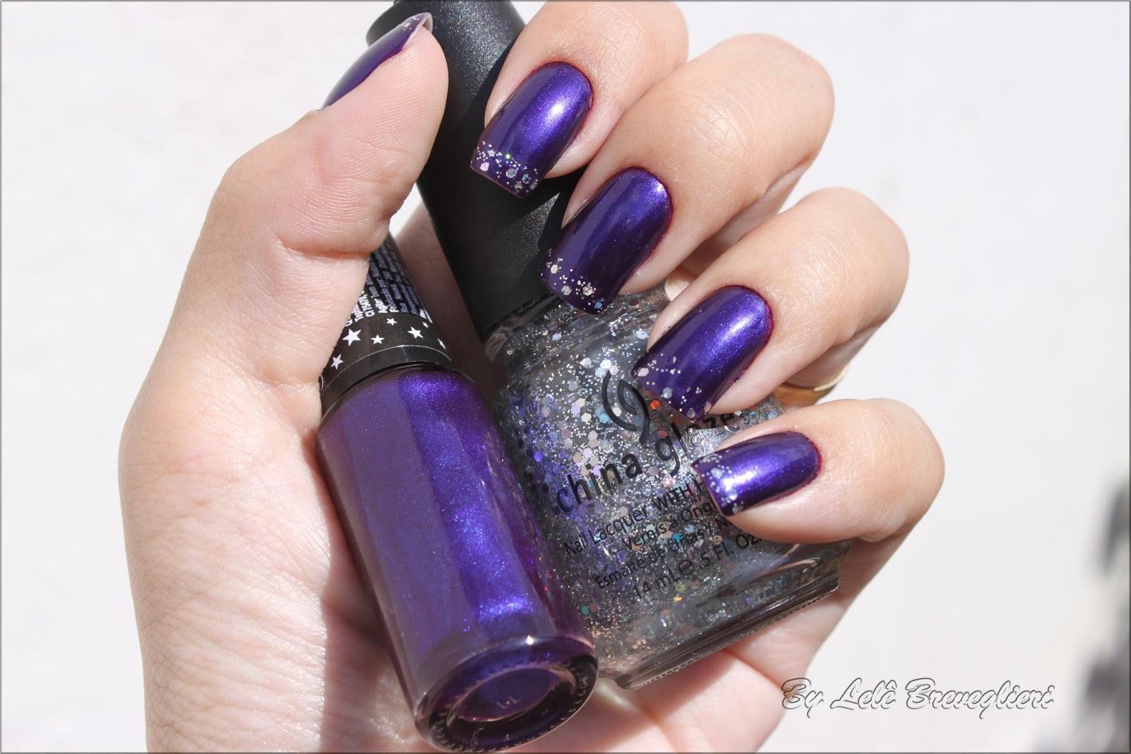 Dark purple & glitter mani - Lele Breveglieri