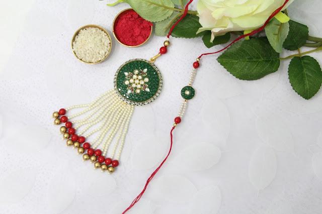 Floral green rakhi lumba set