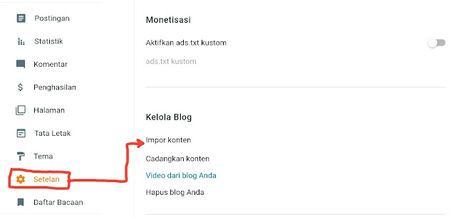 cara backup konten blogspot