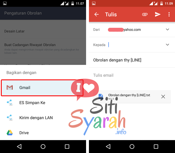 cara backup chat line android