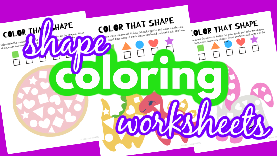 SHAPE RECOGNITION COLORING WORKSHEETS