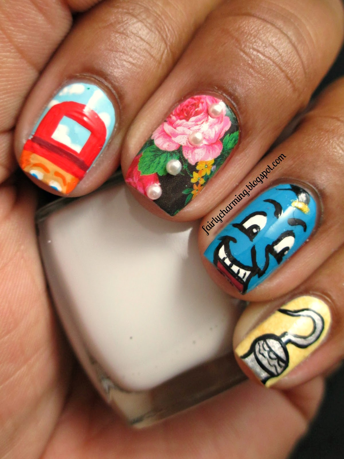 Robin Williams, tribut, nails, nail art, nail design, Toys, Mrs. Doubtfire, Aladdin, Hook