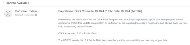 OS X Yosemite 10.10.4 beta 4 was released