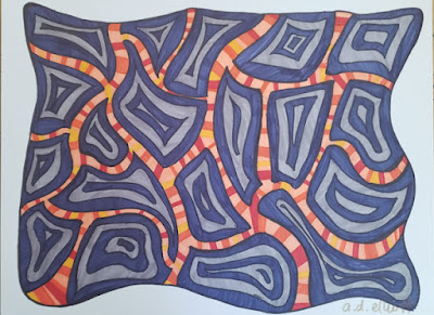 A pen and ink doodle meditation in blues and oranges and a blurb about road trip restaurants and strange pies.