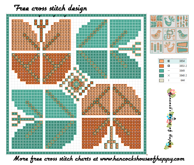 Mid-Century Madness: Free Country Style Mid-Century Cross Stitch Sampler Design