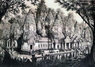 Recreación del Bayón, en Camboya