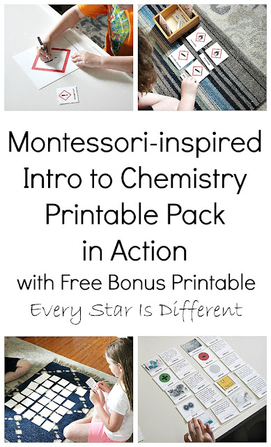 Montessori-inspired Intro to Chemistry Printable Pack in Action with Bonus Freebie