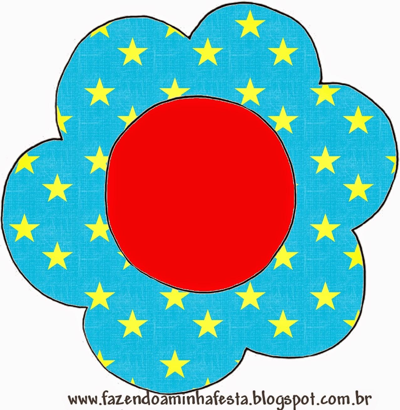 Tarjeta con forma de flor de Estrellas sobre Fondo Celeste.