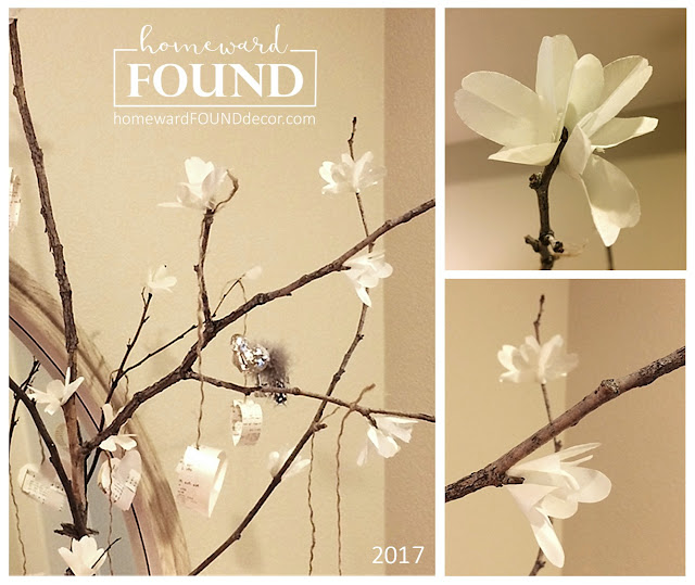 make your own faux spring flowers from paper with this tutorial from homewardFOUNDdecor.com