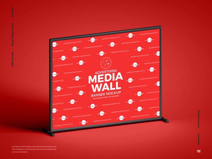 Advertising Media Wall Banner Mockup