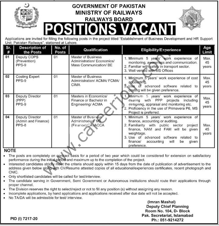 Latest Jobs in Pakistan Railways July 2021