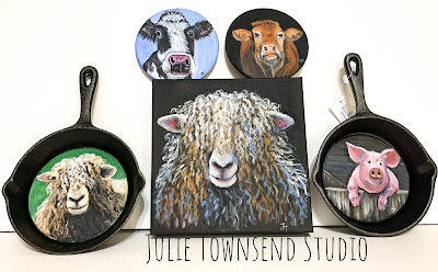 Farmhouse Art, Farm Art, Julie Townsend Studio, Sheep, Pigs, Cows